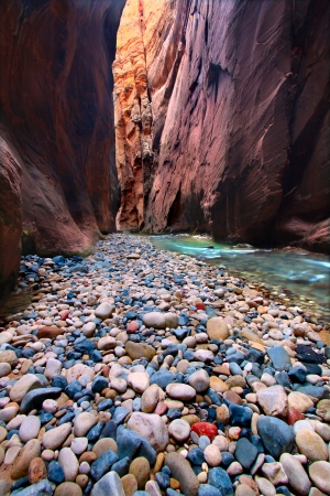 The Narrows of the Virgin River in Zion National Park of Utah Stock Photo