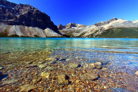 substrate: Rocky substrate visible under clear waters of Bow Lake in Banff National Park of Canada