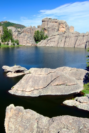 Huge rocks in beautiful Sylvan Lake of Custer State Park in South Dakota photo