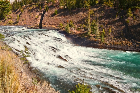 View of Bow Falls flowng through the woodlands of Canada near Banff, Alberta Stock Photo - 14360786
