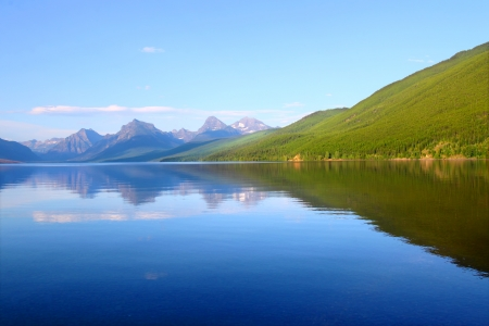 reflect: Mountains reflect off Lake McDonald on a calm evening in Glacier National Park