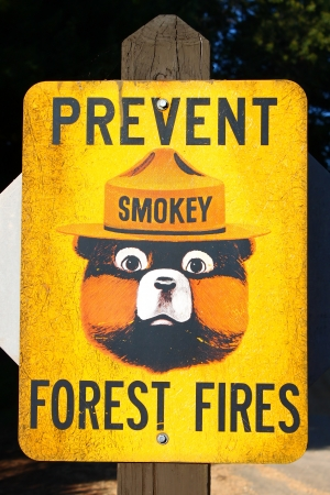 Illinois, USA - Septemeber 12, 2010: Smokey Bear is a character created by the United States Forest Service intended to educate the public concerning the prevention of wildfires.  Smokey Bear is seen here on an older sign at Castle Rock State Park Campgro