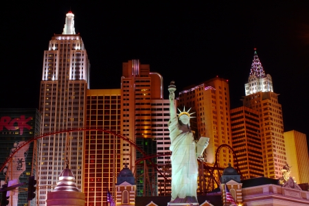 Las Vegas, USA - October 29, 2011: The New York New York Hotel and Casino in Las Vegas on Tropicana Avenue and Las Vegas Boulevard features a replica of the Statue of Liberty.  The architecture of the resort and casino is made to look like the skyline of