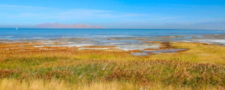 Panoramic landscape at Great Salt Lake State Park in northern Utah photo