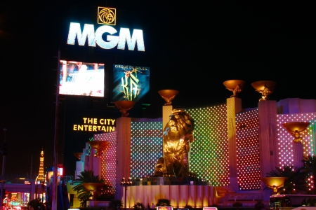 Las Vegas, USA - October 29, 2012: The MGM Grand Las Vegas is one of the largest hotels in the world.  The main sign on Las Vegas Boulevard and the bronze Leo the Lion statue are seen here.