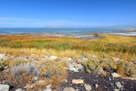 salt flat: Landscape at Great Salt Lake State Park in northern Utah