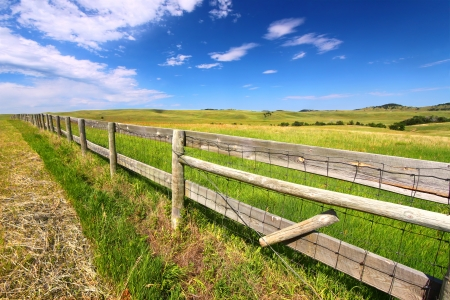 Wooden fenceline in the prairies of Custer State Park - South Dakota