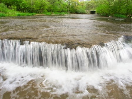 hydrology: Beautiful Prairie Creek Falls in the Des Plaines Conservation Area of Illinois