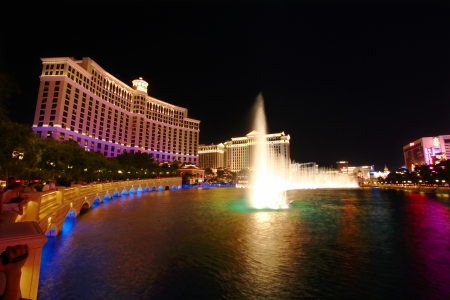 five star: Las Vegas, USA - May 22, 2012: Bellagio is a posh hotel and casino located on the famous Las Vegas Strip.  The Bellagio Fountains shoot water out of over 1,200 nozzles to create spectacular shows choreographed to music. Editorial