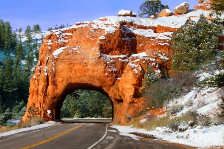 Rock Tunnel through the Red Canyon of Dixie National Forest in Utah Stock Photo