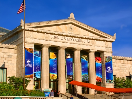 Chicago, USA - June 07, 2005: View of the main entrance to the Shedd Aquarium near downtown Chicago, Illinois. The Shedd Aquarium opened in the year 1930.