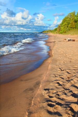 Lake Superior in northern Michigan under beautiful sunlight.