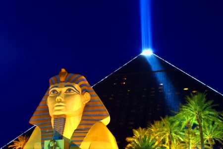 Las Vegas, USA - October 29, 2011: Luxor Las Vegas is an Egyptian themed hotel and casino on the famous Las Vegas Strip.  The hotel was opened in 1993 and contains a replica of the Great Sphinx of Giza and a pyramid shaped building with a spotlight.