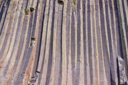 zoomed: Zoomed in shot of Devils Tower National Monument showing interesting geological features