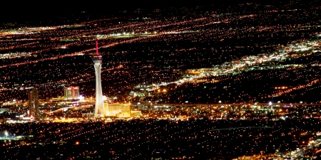 Las Vegas, USA - November 26, 2009: The Stratosphere Las Vegas hotel and casino opened in Nevada in 1996.  The Stratosphere Tower seen here is the tallest structure in Las Vegas standing at over 1,100 feet in height. Stock Photo - 16377626