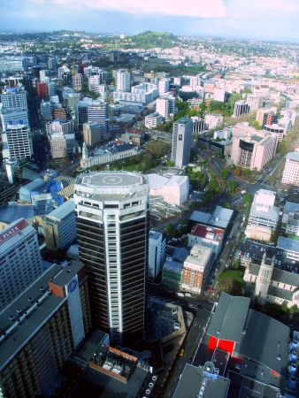 Auckland, New Zealand - June 29, 2005: View of ASB Bank Centre and downtown Auckland New Zealand from the Sky Tower at over 600 feet from the ground.