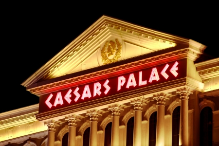 Las Vegas, USA - November 30, 2011: Caesars Palace is a large hotel and casino that opened in the 1960s in Las Vegas.  The buildings and decorations have a Roman Empire theme.
