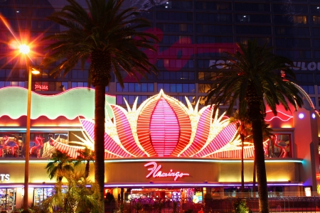Las Vegas, USA - May 22, 2012: The Flamingo Las Vegas is a hotel and casino located on the famous Las Vegas Strip and has a art deco theme.  The Flamingo opened in 1946 and seen here is the entrance on Las Vegas Boulevard. Stock Photo - 16532202