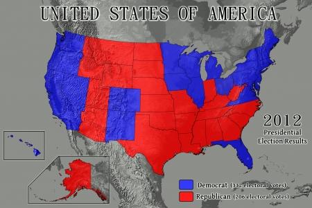 Vereinigte Staaten von Amerika Karte mit Electoral College ergibt sich aus der 2012 Presidential Election (Datenquelle: USGS). Standard-Bild - 16558160