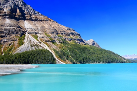 Bright waters of Peyto Lake at Banff National Park in Canada Stock Photo