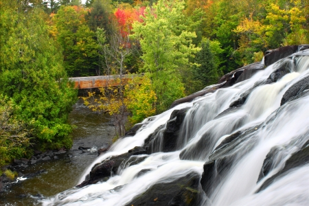 upper peninsula: Bond Falls is a spectacular waterfall on the Ontonagon River in northern Michigan. Stock Photo