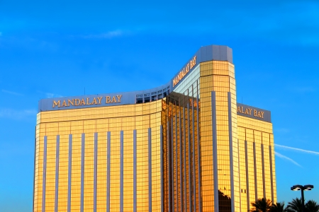 Las Vegas, USA - May 23, 2012: The Mandalay Bay Resort and Casino opened in 1999 in Las Vegas, Nevada.  Seen here is the reflective gold colored exterior of the 44-story tall main building.