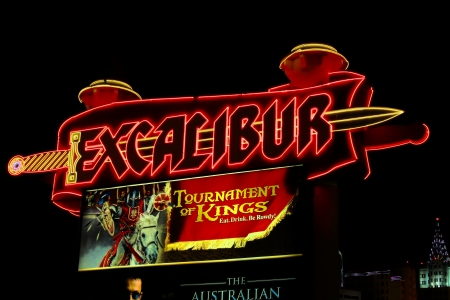 Las Vegas, USA - May 23, 2012: Main street sign of the Excalibur Hotel and Casino on the Las Vegas Strip. The Excalibur was opened in the year 1990.