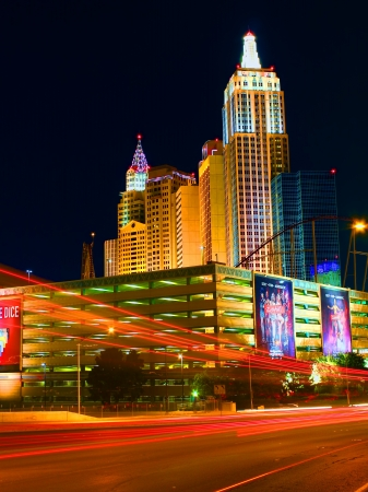 Las Vegas, USA - May 23, 2012: The New York New York Hotel and Casino in Las Vegas and Tropicana Avenue.  The architecture of the resort and casino is made to look like the skyline of New York. Editorial
