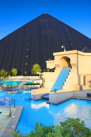 Las Vegas, USA - August 19, 2009: Luxor Las Vegas is an Egyptian themed hotel and casino on the famous Las Vegas Strip.  Luxor opened in 1993 and features this pyramid shaped hotel building. Stock Photo - 19171233