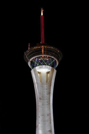 stratosphere: Las Vegas, USA - August 26, 2009: The Stratosphere Las Vegas hotel and casino opened in Nevada in 1996.  The Stratosphere Tower seen here is the tallest structure in Las Vegas standing at over 1,100 feet in height. Editorial