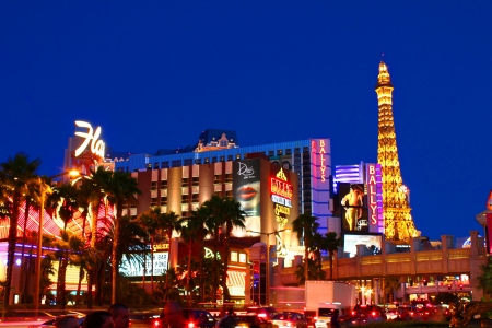 Las Vegas, USA - May 22, 2012: Famous Las Vegas Strip in Las Vegas, Nevada. The Strip is about 4 miles long and seen here are a few of the luxurious hotel casinos that make it famous. Stock Photo - 19276373