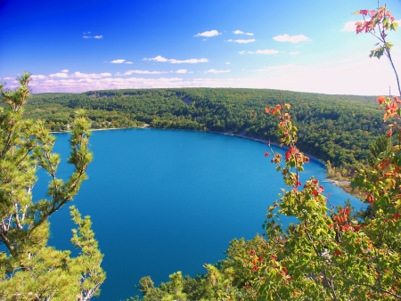 Beautiful view of Devils Lake State Park in Wisconsin Stock Photo
