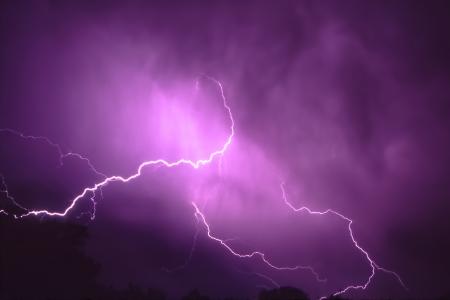 lightning bolt: Lightning streaks through the sky from a summer thunderstorm in Illinois