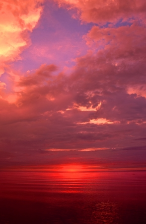 Incredible sunset over Lake Superior in Michigan