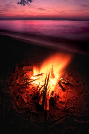 Beach campfire on Lake Superior in northern Michigan Stock Photo