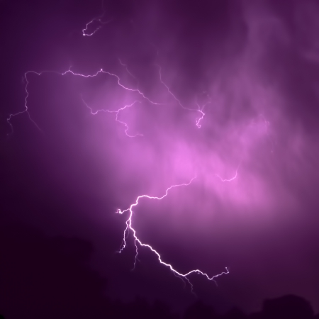 Lightning streaks through the sky from a summer thunderstorm in Illinois