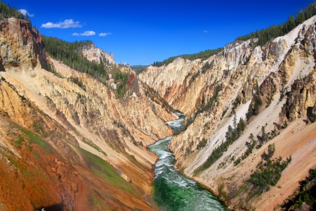 rock canyon: Amazing Grand Canyon of the Yellowstone River on a beautiful summer day Stock Photo