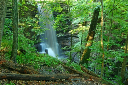 Beautiful Lake Falls seen through the woodlands of Matthiessen State Park in central Illinois photo