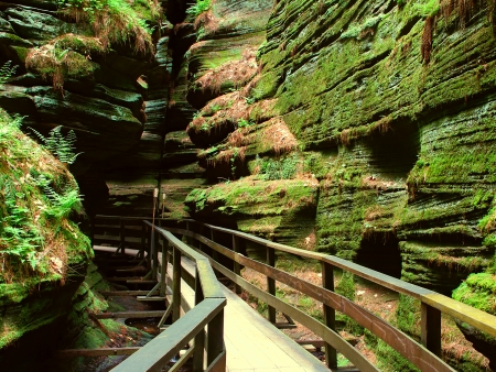 slot canyon: Witches Gulch is a beautiful slot canyon in the Wisconsin Dells Stock Photo