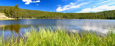 Panoramic view of Sibley Lake in the Bighorn National Forest of Wyoming