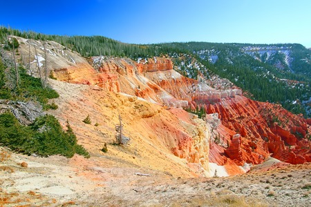 Steep cliffs seen from North View of Cedar Breaks National Monument in Utah photo