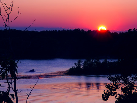 Sunset over Rice Lake in the Kettle Moraine State Forest of Wisconsin