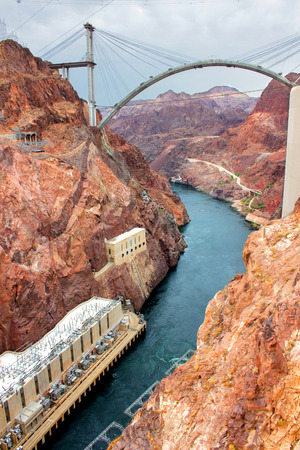 hydrology: Colorado River below Hoover Dam in the Southwest United States Stock Photo