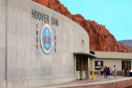 hoover dam: Hoover Dam, USA - August 23, 2009: The Hoover Dam is located on the Colorado River between Arizona and Nevada.  It was built between the years 1931 and 1936.