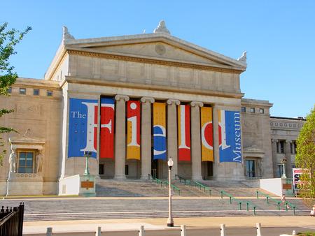 Chicago, Verenigde Staten - 7 juni 2005: The Field Museum of Natural History ingang in Chicago, Illinois. The Field Museum is in de hier getoonde sinds 1921 gebouw. Redactioneel