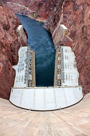 hoover dam: Colorado River below Hoover Dam in the Southwest United States Stock Photo
