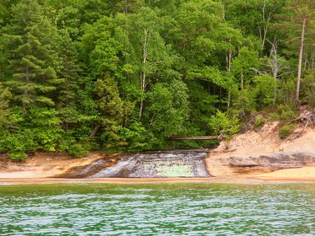 pictured: Chapel Creek flows into Lake Superior at Pictured Rock National Lakeshore in Michigan Stock Photo