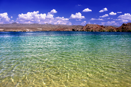 mead: Lake Mohave beach in the desert of the southwestern United States.