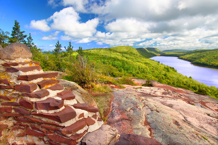 overlook: Lake of the Clouds Scenic Overlook at Porcupine Mountains State Park in northern Michigan. Stock Photo