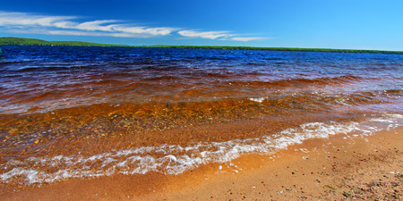 panoramic beach: Panoramic beach landscape of Lake Gogebic in northwoods Michigan Stock Photo